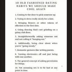 Old fashion dating.
