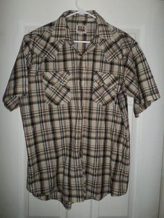 Men's Brown ELY CATTLEMAN Plaid Pearl Snap Button Country Western Shirt, Size L #ElyCattleman #WesternPlaidPearlStyleSnapButtonFrontShirt