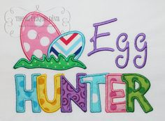 Easter Egg Hunter Embroidery Design Machine Applique    With your purchase you will receive the applique in 2 sizes: 5X7 and 6X10 hoop in Satin