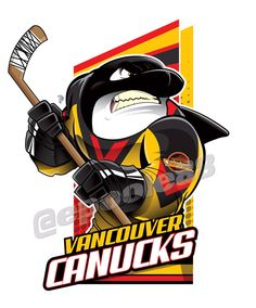 An Orca wearing the 1979 Vancouver Canucks jersey which is the ugliest jerseys in NHL History . Hockey Logos, Nhl Logos, Hockey Teams, Hockey Stuff, Sports Logos, Sports Teams, Sports Art, San Jose Sharks, Creative Logo