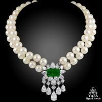 VAN CLEEF & ARPELS Diamond, Cultured Pearl & Emerald Necklace
