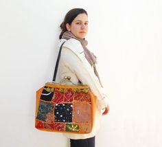 Oriental Tangerine  Vintage Sari Embroidery Kisslock by StarBags, $160.00