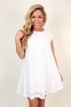 Natalia Eyelet Shift Dress in White