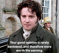 Screencap of Colin Firth as Mr. Darcy in the 1995 version of Pride and Prejudice. Colin Firth, Jennifer Ehle, Jane Austen Movies, Bbc, Mr Darcy, Period Dramas, Celebrity Hairstyles, I Movie, Books