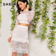 Shop Flounce Trim Lace Crop Top and Skirt Set online. SHEIN offers Flounce Trim Lace Crop Top and Skirt Set & more to fit your fashionable needs. 2 Piece Outfits, Two Piece Outfit, Two Piece Skirt Set, Blouse Models, Body Con Skirt, Lace Crop Tops, Sheer Blouse, Sweatshirt, Boho