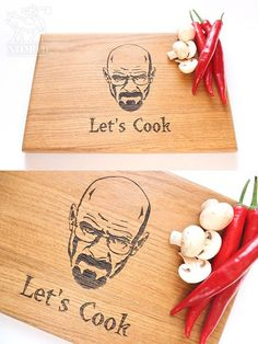 Heisenberg Cutting Board, Let's Cook, Breaking Bad, Walter White, Custom Engraved, Gift for him, Kitchen Decor