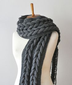 SALE Just for One - Charcoal scarf - Charcoal knit infinity scarf , cable knit huge scarf, Large Chunky Knit Scarf