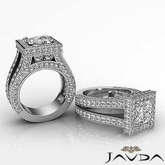 Natural Princess Diamond Engagement Ring 14k White Gold 3.5 ct