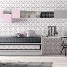 dormitorio juvenil  gris y rosa formado por una cama gemela compacto dos camas iguales y cajones,mesa de estudio y módulos de puerta y estantes colgados
