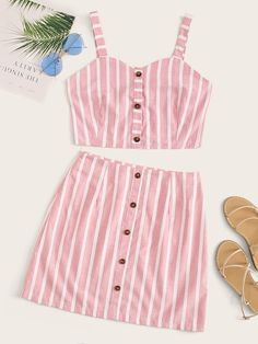 To find out about the Striped Button Front Cami Top & Skirt at SHEIN, part of our latest Two-piece Outfits ready to shop online today! Trendy Summer Outfits, Casual Skirt Outfits, Cute Comfy Outfits, Crop Top Outfits, Summer Fashion Outfits, Cute Fashion, Look Fashion, Outfits For Teens, Cool Outfits