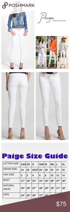 """Paige Optic White Hoxton Ankle Skinny Jeans.  NWT. Paige Optic White Hoxton Ankle Stretchy Skinny Jeans, 98% cotton, 2% elastanne, machine washable, 29"""" waist, 10"""" front rise, 14"""" back rise, 28.25"""" inseam, 10"""" leg opening all around, five pockets, belt loops, zip fly button closure, Paige logo brushed nickel-tone hardware, Paige leather patch on back waistband, measurements are approx.  NO TRADES Paige Jeans Jeans Skinny"""