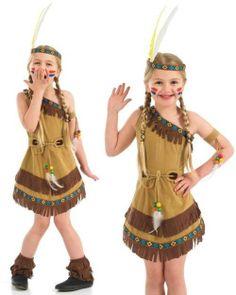 Child Red Indian Squaw Native American Fancy Dress Costume Kids Girls Female