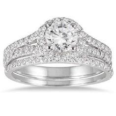 1.25ct Round cut Halo split shank Giamond Engagement Ring 14K SOLID White GOLD #Jewelsbyeanda