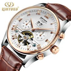 (33.83$)  Watch now  - New  Kinyued Skeleton Tourbillon Mechanical Watch Automatic Men Classic Rose Gold Leather Mechanical Wrist Watches Reloj Hombre