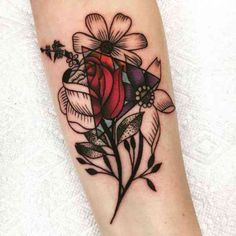 Three flowers, touch of vibrant color and a triangle.