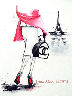 Paris Love Travel Watercolor Illustration - Print of Watercolor Painting Fashion - Lana Moes Art - Wanderlust Illustration