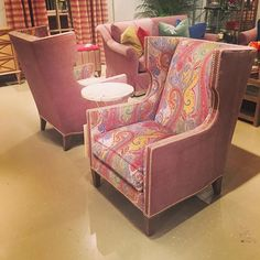 Sherrill Furniture 1363 Chair in accent fabric | #hpmkt #hpmkt2015 wing chair