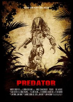 """Beautiful """"PREDATOR metal poster created by Rafael Ruiz. Classic Movie Posters, Horror Movie Posters, Movie Poster Art, Predator Movie, Alien Vs Predator, Godzilla Wallpaper, Robot Concept Art, Movie Covers, The Expendables"""