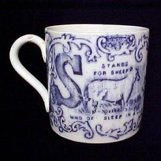 Early Child's Transferware Alphabet ABC Mug S for SHEEP, T for TIGER Staffordshire England c. 1850 This fantastic child's alphabet mug or ABC cup Blue And White China, Blue China, Horse Race Game, Alphabet Mugs, Childrens Mugs, Old Candy, Antique Pottery, Willow Pattern, Antique China