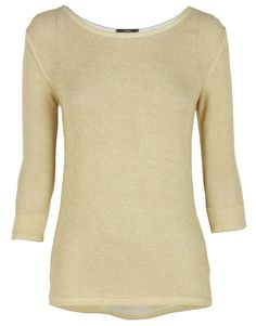Gold Lurex Thin Knit Beige Crop Sleeve Top #Chiarafashion