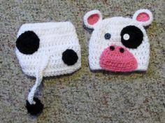 Crochet Newborn Cow Outfit hat and Diaper by GrannysCrochetStuff