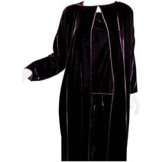 Burgundy Zoran silky velvet 3 pc  jacket duster, blouse/top  and pant set   From a collection of rare vintage suits, outfits and ensembles at https://www.1stdibs.com/fashion/clothing/suits-outfits-ensembles/