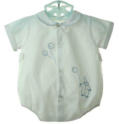 NEW Hand Embroidered White Romper with Clown and Balloons $50.00