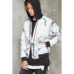 Forever21 Marble Print Bomber Jacket ($35) ❤ liked on Polyvore featuring men's fashion, men's clothing, men's outerwear, men's jackets, mens zip jacket, mens lightweight jacket, mens fleece lined jacket, mens lightweight bomber jacket and mens short sleeve jacket