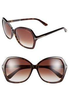 Free shipping and returns on Tom Ford 'Carola' 60mm Sunglasses at Nordstrom.com. A subtly angled silhouette and polished Tom Ford hardware at the temples bring signature sophistication to full-coverage sunglasses outfitted with gradient lenses.