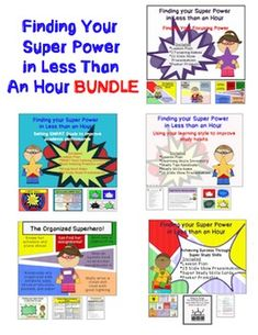 Thank+you+for+considering+purchasing+this+Finding+Your+Super+Powers+in+Less+than+an+Hour+BUNDLE.+It+is+intended+to+be+used+with+older+elementary+or+middle+school+students.+This+packet+is+designed+to+provide+you+with+everything+needed+to+help+students+with+organization,+learning+style,+focusing,+goal+setting+and+memory+improvement.