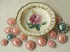 It is not too hard to find pink when I'm out hunting down vintage goodies. Pink Turquoise, Aqua, Scarab Bracelet, Button Eyes, Button Crafts, Vintage China, Vintage Buttons, Beads, Antiques