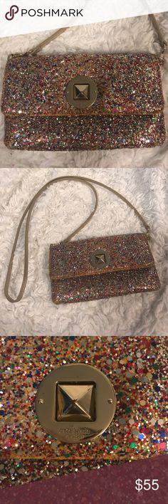 Sparkle clutch/purse Multi-color sparkle clutch. Detachable gold strap. kate spade Bags Clutches & Wristlets