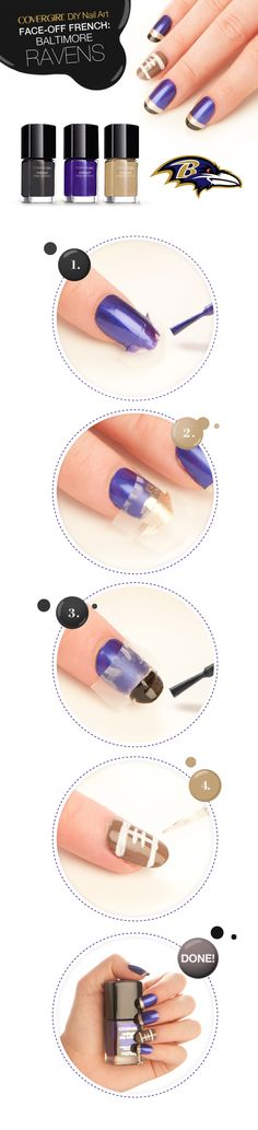 Show your purple pride with a Baltimore  Ravens french manicure!