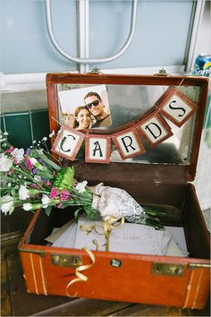 cards bunting in suitcase- need something for cards.... maybe not a suitcase