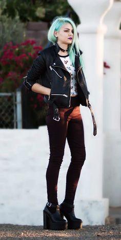 Bronhilda Platforms, Burgundy High Waisted Trousers & rollerskates top - http://ninjacosmico.com/29-grunge-outfit-ideas-fall/