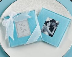 "Kate Aspen ""Something Blue"" Timeless Glass Photo Coasters #wedding"