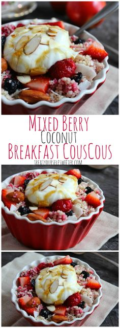 Mixed Berry Coconut Breakfast Couscous; a fast, easy, sweet fresh breakfast with soft, apple couscous, pops of fresh berries and topped with yoghurt and honey.