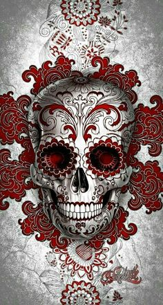 Digoil renowned floral sugar skull red Your canvas art will be stretched over a wooden frame. Hannya Maske, Totenkopf Tattoos, Sugar Skull Tattoos, Red Tattoos, Skull Candy Tattoo, Mexican Skull Tattoos, Celtic Tattoos, Candy Skulls, Sugar Skull Art