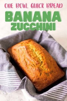 This easy one bowl recipe for homemade banana zucchini bread is a popular quick bread for kids. Ripe bananas with fresh shredded zucchini bake up in a golden brown breakfast bread with an amazing crispy crust.