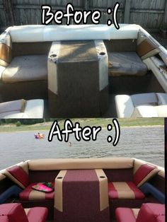 """Thank you Youtube for teaching me how to reupholster my boat!! The local upholstery shop wanted $3500+ to do it. F that! I spent approximately $300 on materials, watched YouTube videos, a couple """"learning experiences"""" later, and now it looks grrrrreat!"""