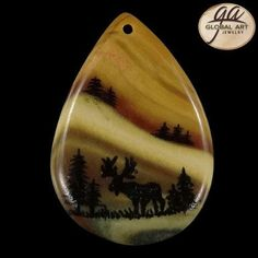 BI26304# Hand Painted Deer Animal on Natural Succor Creek  Jasper Pendant Bead