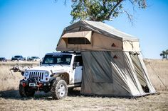 Tepui Autana Sky roof top tent, with annex, open front view. Car camping