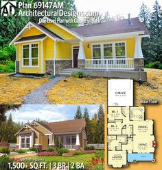 Architectural Designs Craftsman House Plan 69147AM gives you 3+ beds, 2+ baths and over 1,500 square feet of heated living space. Ready when you are. Where do YOU want to build? #69147AM #adhouseplans #architecturaldesigns #houseplan #architecture #newhome #newconstruction #newhouse #homedesign #dreamhome #dreamhouse #homeplan #architecture #architect #craftsman #northwest