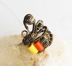 Yellow Orange Brass Spacers Unique Antique Bronze Wire Wrap Adjustable Ring #Jeanninehandmade