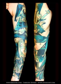 Tattoo sleeve inspired by the art of Picasso.