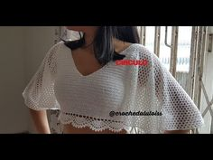 30 Ideas for crochet blusas manga larga Crochet Shirt, Crochet Crop Top, Knit Crochet, Crochet Clothes, Diy Clothes, Crochet Dresses, Crochet Summer Tops, Crochet Woman, Crochet Videos