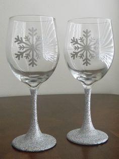 Christmas snowflake wine glasses