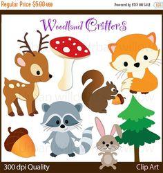 60%OFFSALE WOODLAND CRITTERS 10 piece clip por LittlePumpkinsPix