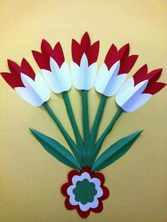 The colors of the Hungarian flag: red, white and green. Easter Crafts, Diy And Crafts, Christmas Crafts, Crafts For Kids, Arts And Crafts, Craft Kids, Spring Art, Spring Crafts, Flower Cards