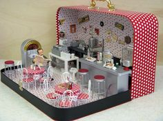 FYI INSPIRATION...no instructions...make in an old lunch box or small suitcase? via iheartminiatures: Mini 50's Dinner
